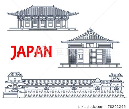 Japan landmarks, Japanese temples architecture 78201246