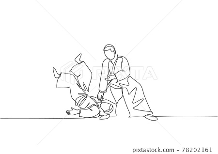 Single continuous line drawing of two young sportive men wearing kimono practice throwing in aikido fighting technique. Japanese martial art concept. Trendy one line draw design vector illustration 78202161