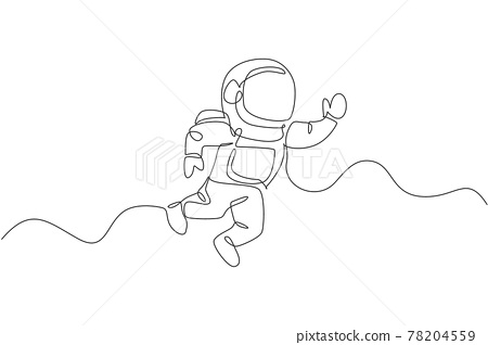 One continuous line drawing of young astronaut scientist exploring outer space in retro style. Spaceman cosmos discovery concept. Dynamic single line draw design vector graphic illustration 78204559