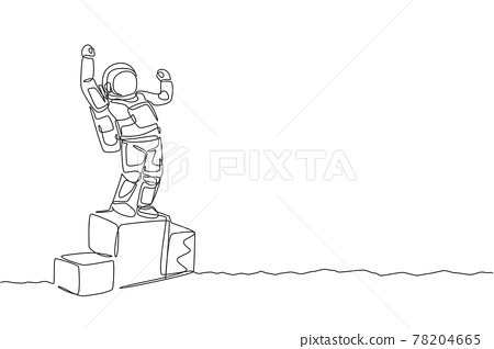 One continuous line drawing of astronaut standing on first place podium. Deep space galaxy. Spaceman healthy fitness sport concept. Dynamic single line draw design vector illustration graphic 78204665