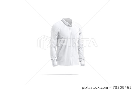 Blank white classic shirt mockup, side view 78209463