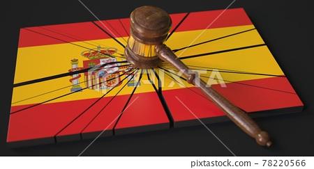 Broken block with flag of Spain and judge's gavel. Conceptual 3d rendering 78220566