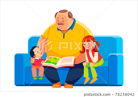 Old grandparent with grandchildren sitting on couch at home and reading book. Grandfather, grandson and granddaughter spending time together and studying with textbook. Cartoon vector illustration 78238042
