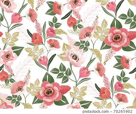 Vector illustration of a seamless floral pattern in winter for Wedding, anniversary, birthday and party. Design for banner, poster, card, invitation and scrapbook  78265902