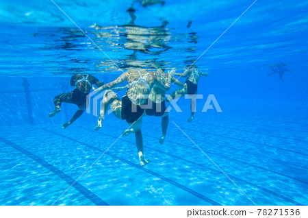 Sychronized Swimming Girls Team Underwater Pool 78271536