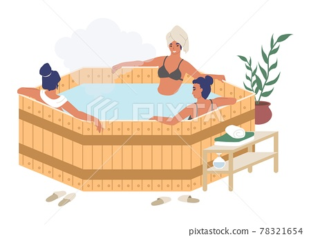 Happy women enjoying barrel, japanese hot tub bath, flat vector illustration. Spa resort, sauna, bathhouse therapy. 78321654