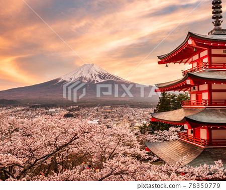 Fujiyoshida, Japan at Chureito Pagoda and Mt. Fuji in the Spring 78350779