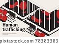Human Trafficking Isometric Background 78383383