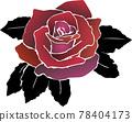 紅色玫瑰花與黑色葉片 78404173