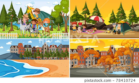 Four different scenes with children cartoon character 78410724