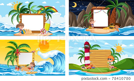 Set of different tropical beach scenes with blank banner 78410780