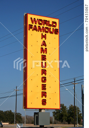 Restaurant Sign World Famous Hamburgers with blue sky 78433867