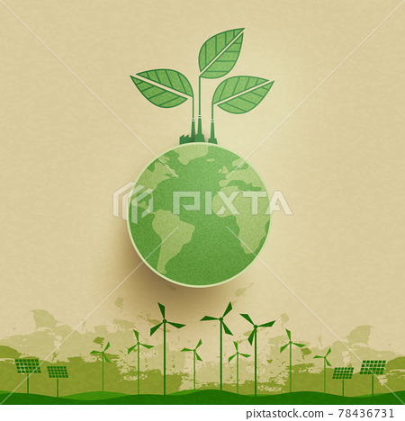 Green industry and alternative renewable energy.Green eco friendly landscape background.Paper art of ecology and environment concept. 78436731