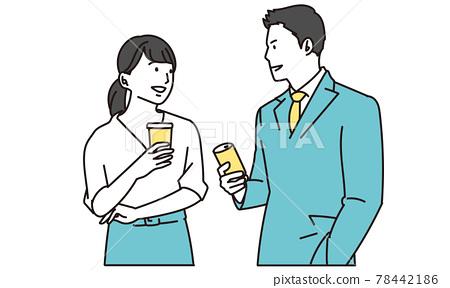 coversation, businessman, heterosexual couple 78442186