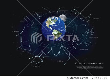 12 zodiac constellationsVector Illustration 78447959