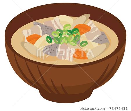 pork soup, miso soup, soup dish 78472451