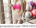 Girl train in gym in sports uniform 78491950