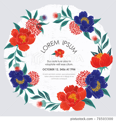 Vector illustration of a beatiful floral frame for Wedding, anniversary, birthday and party. Design for invitation card, picture frame, poster, scrapbook  78503300