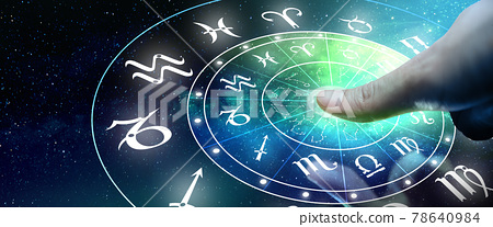 Astrological zodiac signs inside of horoscope circle. Man or Woman touching screen Zodiac signs hologram. Astrology concept. 78640984