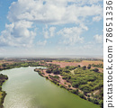 Aerial view of countryside and beautiful lake 78651336