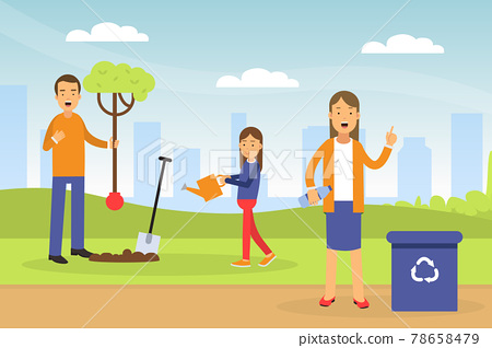Young Man with Daughter Planting Tree and Woman Gathering Plastic for Recycling Contributing into Environment Preservation Vector Illustration 78658479