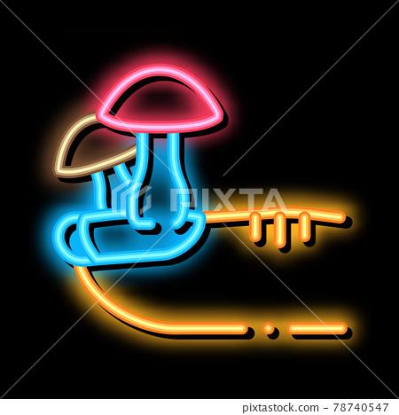 nail fungus neon glow icon illustration 78740547
