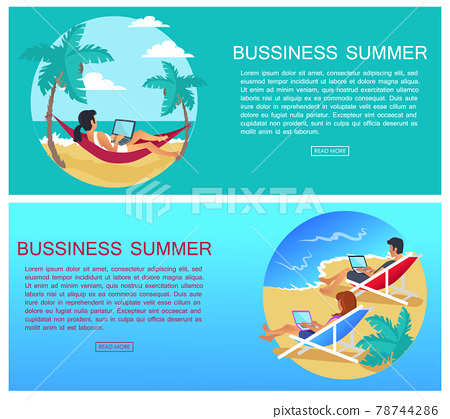 Business Summer Page and Text Vector Illustration 78744286