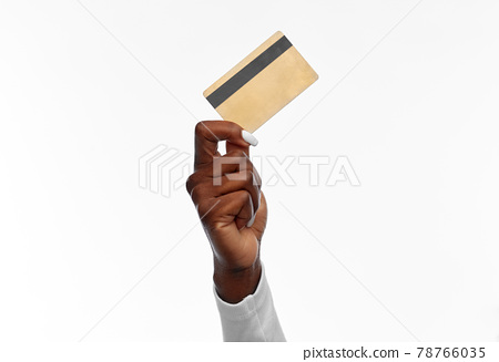 hand of african american woman with credit card 78766035