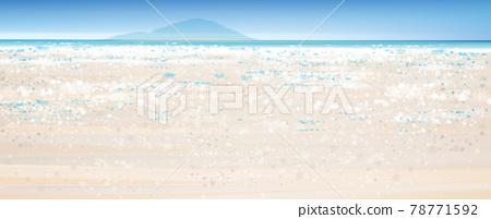 Vector  ocean  view,  blue sky,  ocean and sandy beach. Bokeh effect background. 78771592