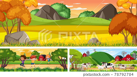 Set of outdoor panoramic landscape with cartoon character 78792784