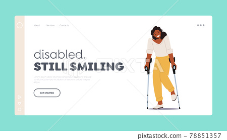 Disabled Woman Character Stand on Crutches Landing Page Template. Patient Rehabilitation after Accident, Handicapped 78851357