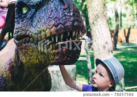 A close-up of a full-length mini Tyrannosaurus Rex. Reconstruction of extinct species. Swing for children. Styling extinct animals. Dinosaurs robots, animatronics and robotics 78857568