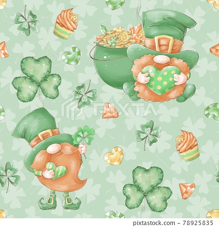Seamless pattern. Gnome for St. Patrick's Day 78925835