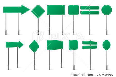 Green road signs different shapes on metal post 78930495
