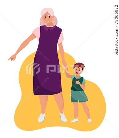 The older woman grandmother walks with her grandson. Elderly people are cartoon characters. Old age. Vector illustration of a flat style, isolated on a white background 79006922