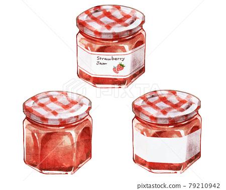 Strawberry jam hand-drawn illustration 79210942