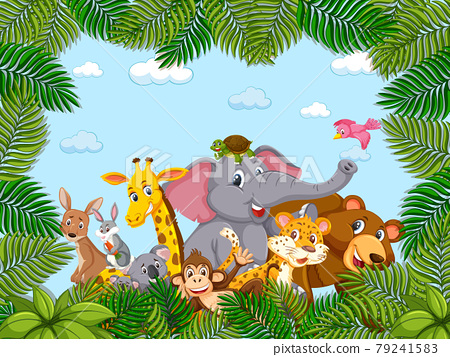 Wild animals group in the forest frame 79241583