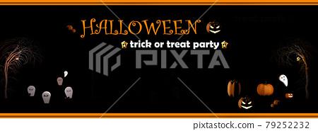 Halloween 3D render of graveyard with halloween pumpkins and graves 79252232