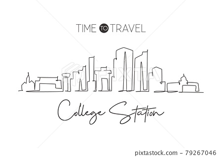 Single continuous line drawing of College Station skyline, Texas. Famous city scraper landscape. World travel home wall decor art poster print concept. Modern one line draw design vector illustration 79267046