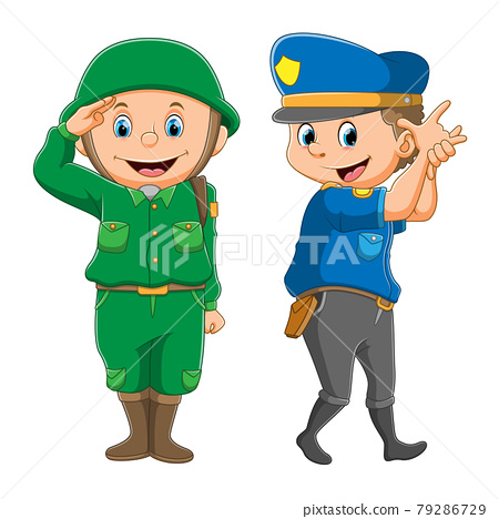 The collection of the police and the army with the good posing 79286729