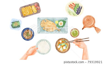 日式早餐(日本料理)手繪水彩風格插畫 79319921