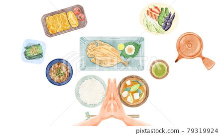 Japanese breakfast (Japanese food) hand-painted watercolor style illustration 79319924