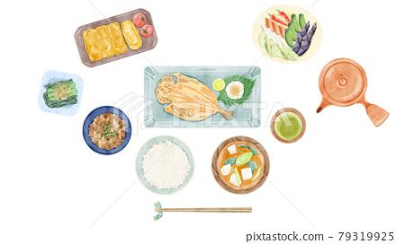 Japanese breakfast (Japanese food) hand-painted watercolor style illustration 79319925