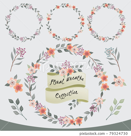 Vector illustration of a floral frame collection. A set of beautiful wreaths with flowers and branches for wedding invitations and birthday cards 79324730