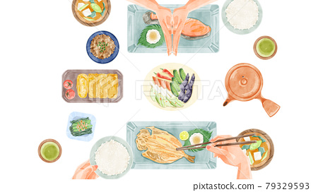 Japanese breakfast (Japanese food) dining table landscape hand-painted watercolor style illustration 79329593