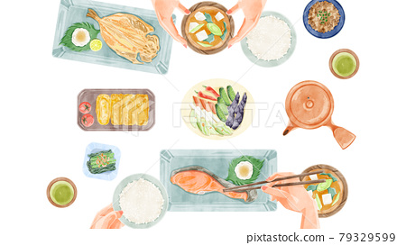 Japanese breakfast (Japanese food) dining table landscape hand-painted watercolor style illustration 79329599
