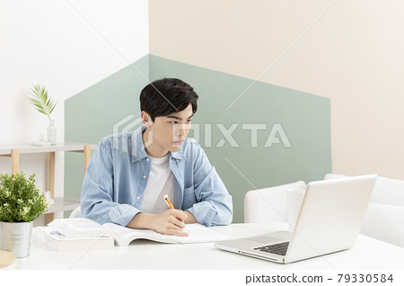 untact online education, Asian man college student studying with laptop 79330584
