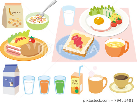 breakfast, western food, milk 79431481