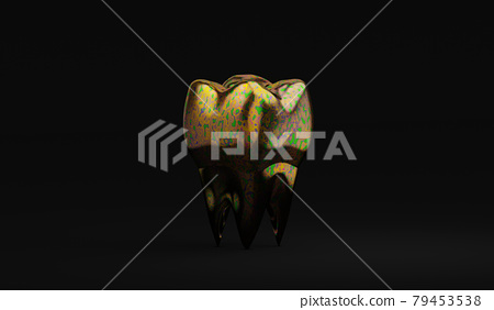 unusual color molar tooth on black background, dirty tooth concept, bacterial plaque, 3d illustration 79453538