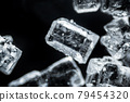 Crystal sugar macro on black background under the light microscope, magnification of 40 times, microscope objective 4 79454320